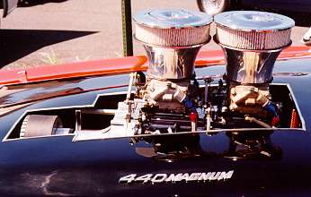 Modified 1972 Dodge Charger, close up view of tunnel ram induction